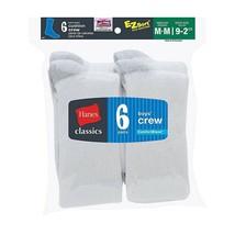 6-Pack Hanes Classics Boys' Crew EZ Sort Socks - White - Size S-L - $14.24
