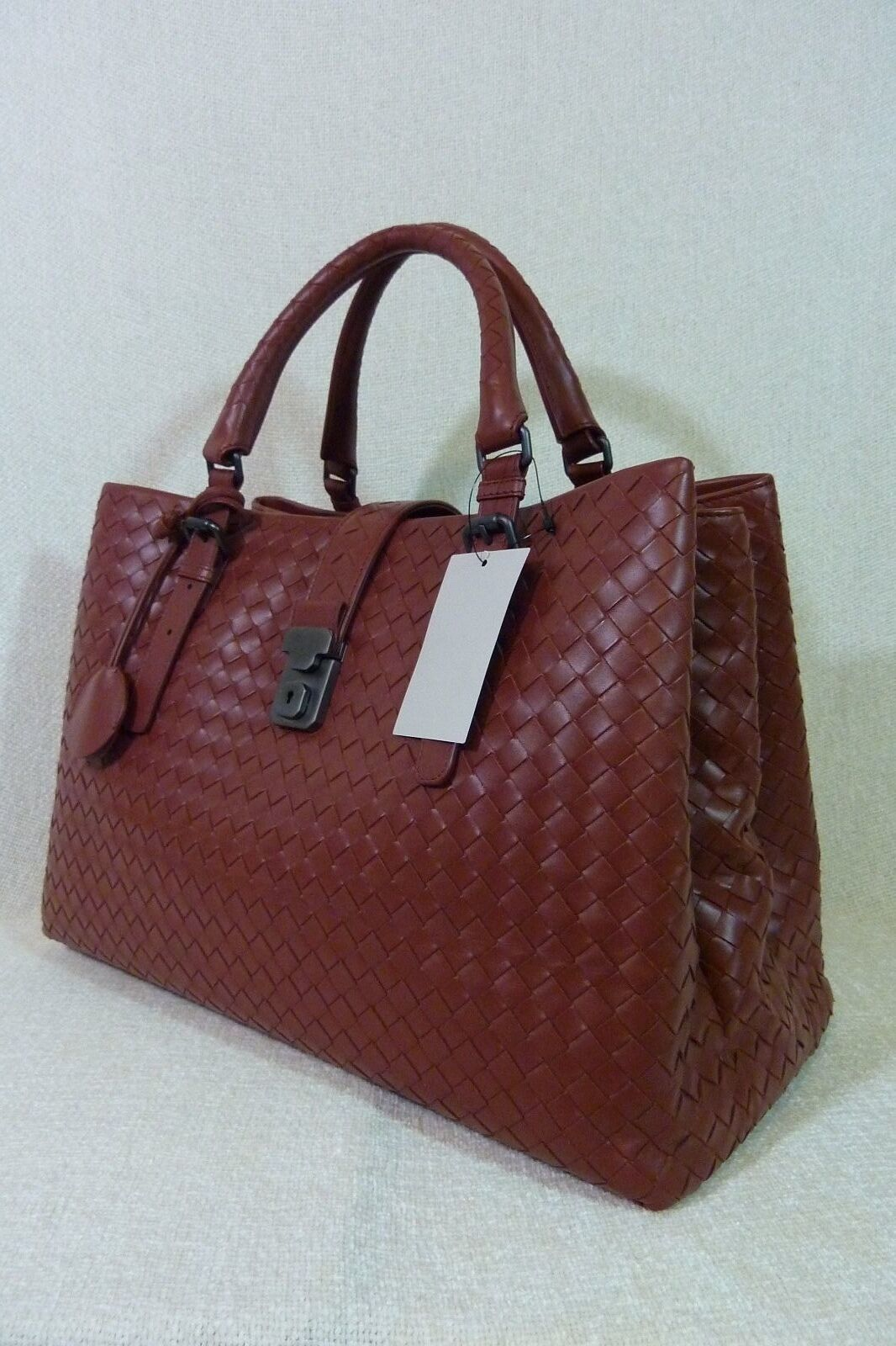 AUTH NWT Bottega Veneta Medium Roma Bag In Russet Intrecciato Calf Leather image 5