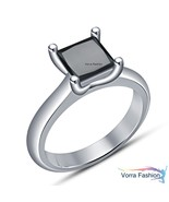 Princess Cut Black Diamond Solitaire Wedding Ring White Gold Plated 925 ... - $64.88