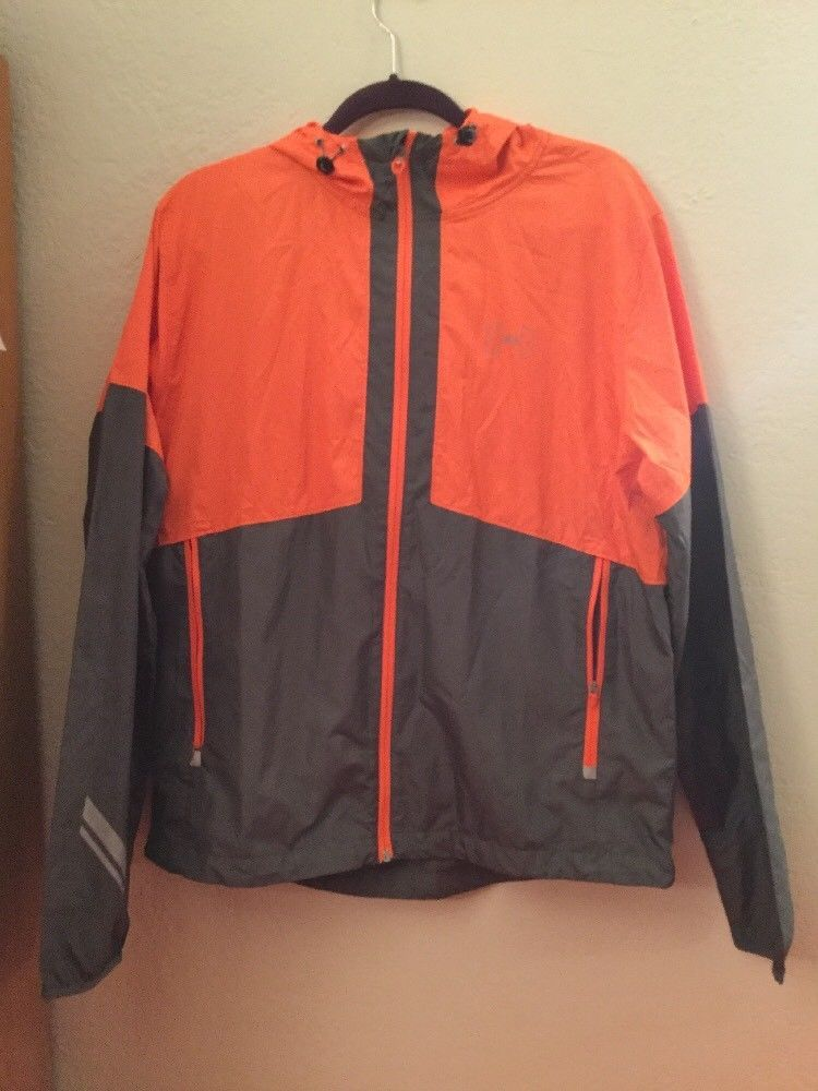 Primary image for Mens Under Armour Jacket Windbreaker Orange Gray Run Vented Full Zip Up LG