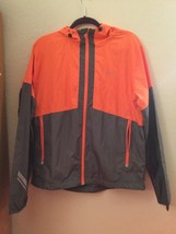 Mens Under Armour Jacket Windbreaker Orange Gray Run Vented Full Zip Up LG - $25.00
