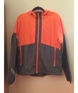 Mens Under Armour Jacket Windbreaker Orange Gray Run Vented Full Zip Up LG - $25.00