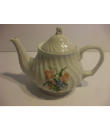 White Porcelain Teapot  With Salmon Colored Flowers Holds 4 Cups Liquid - $49.49