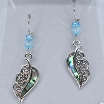 A.T. Storrs Wild Pearle Abalone Shell Filigree Feather Silver Tone Hook Earrings image 2