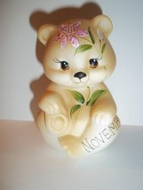 Fenton Glass November Birthday Stargazer Lily BEAR Figurine GSE K Barley #4 - $115.92
