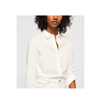 Mango White Long Sleeve Button Down Cotton Blend Shirt Size US XS NWT - $28.71