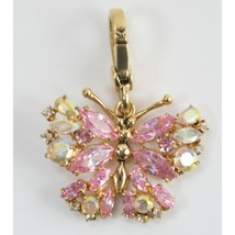 Juicy Couture CZ Pink Crystal Butterfly FULL SIZE Large Gold Bracelet Ch... - $63.86