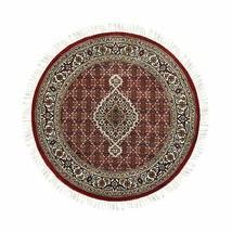 "4'1""x4'1"" Red Hand Knotted WoolSilk Tebraz Mahi Fish Design Oriental Rug... - $473.76"