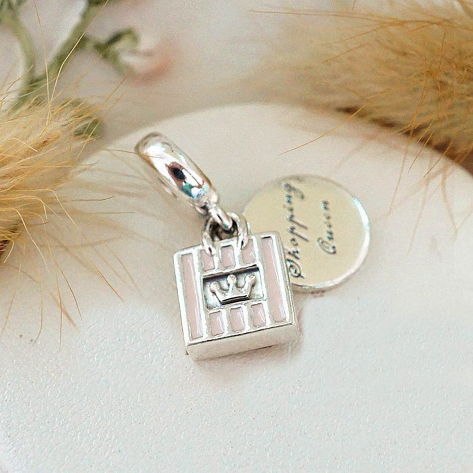 Authentic S925 Sterling Silver Jewelry Shopping Queen Dangle Charm fit Pandora B