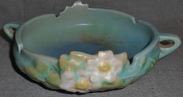 Circa 1940s Roseville Pottery WHITE ROSE  PATTERN Flower Bowl  - $59.39