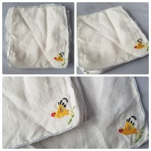 Vintage Cocktail Napkins/ Linens White Square Rooster Embroidery 6 Cloth... - $25.68