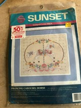 Vintage 1992 Sunset Prancing Carousel Horse Cross Stitch Kit NIP - $14.85