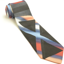 FUNKY VINTAGE WEMBLON by WEMBLEY 55L Black Rust Blue Mens Neck Tie - $89.10