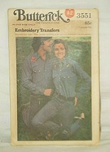 Butterick 3551 Embroidery Transfers Pattern Decorate Jeans Shirts Jackets - $6.92