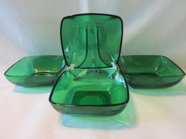 "Forest Green Charm 4 1/2"" Dessert Bowls (4) - Anchor Hocking Glass Co., 1950s - $14.99"