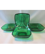 "Forest Green Charm 4 1/2"" Dessert Bowls (4) - Anchor Hocking Glass Co., 1950s - £11.00 GBP"