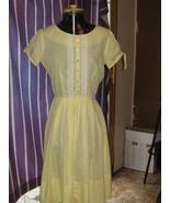 vintage retro      1950s  Yellow cotton and lace trim dress size  11 MAR... - $44.50