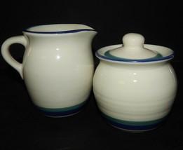 Pfaltzgraff Northwinds  Creamer Pitcher Sugar Bowl Stoneware Blue Green Stripe - $31.67