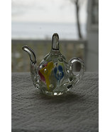 Old Vintage Art Glass Paperweight St Clair Teapot Blue Yellow Pink Green... - $219.99