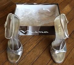 Nina Haywood Womens US 8.5 Silver Strappy Heels Sandals Pre Owned 8483 - $28.05