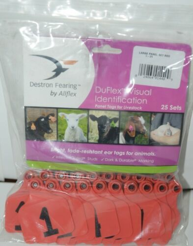 Destron Fearing DuFlex Visual Id Panel Red Tags for Livestock Large 1-25