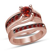 Rose Gold Finish 925 Pure Silver Round Cut Red Garnet Girls Engagement Ring Set - $94.99