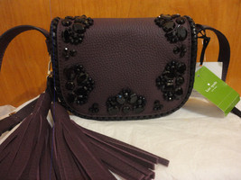 Kate Spade Lietta Anderson Way Tassel Embellished Mahogany Leather Cross... - £121.79 GBP