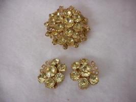 Eisenberg Brooch and Earring Set Yellow Stones Stunning - $87.12