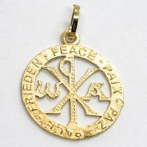 SOLID 18K YELLOW GOLD MONOGRAM OF CHRIST PENDANT, PEACE, MEDAL, 0.95 INCHES image 3