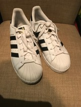 ADIDAS SuperStar Shell Toe White W/Black STRIPES MEN'S SIZE 6.5 GOLD TONGUE - $49.95