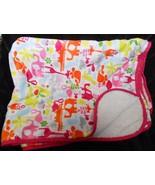 Carters Baby Blanket White Pink Orange Green Elephant Flamingo Animals - $22.65
