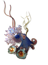 Bovano Enamel Wall Art Octopus with Grasses and Coral - $121.55