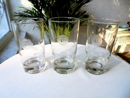Set of 3 Vintage Clear Crystal Highball Glasses Romanian Etched Rose - $20.79