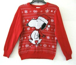 Peanuts  Neuf Taille 7  Unisexe Pull Tricot Rouge Multi Vacances Snoopy ... - $27.82