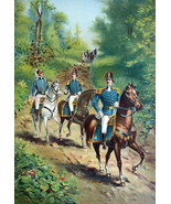 US ARMY in 1812 General & Staff Officers on Horses - COLOR Litho Print - $13.49