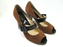 Michael Kors Womens Brown Suede Leather Peep Toe Pumps Black Straps Size US 8 - $57.23