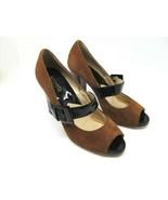 Michael Kors Womens Brown Suede Leather Peep Toe Pumps Black Straps Size... - $48.02