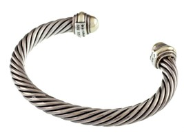 David Yurman Argento Sterling & 14k Oro Giallo Polsino Cavo Bracciale - $428.50