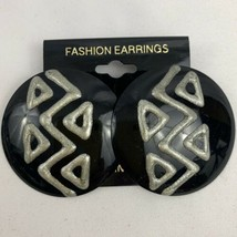 Big Round Pierced Earrings New Wave Vintage NOS Black Enamel Gray Painte... - $9.84