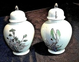 Ceramic Urns with Gilt Domed Lid ee82 AA18-1204 Pair of Vintage Japanese image 1