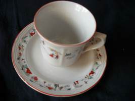 Katherine Babonovsky White Christmas cups and saucers  (8 available) - $5.99