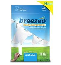 Breezeo Laundry Detergent Strips Laundry Detergent Sheets, Fresh Linen Scent, 48