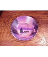 Alaska Sled Dog Dusk Scene Hand Painted Small Gold Pan, Signed N. Howes - $13.95