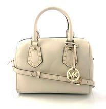 Michael Kors Aria Small Ecru Leather Studded Satchel Crossbody Handbag Bag - $156.99
