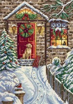 Cross Stitch Kit Hand Embroidery Winter Animals Dog Christmas Eve - $39.90