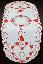 Creative Linens Embroidered Red Hearts Placemats, Table Runners, Tablecl... - $26.44