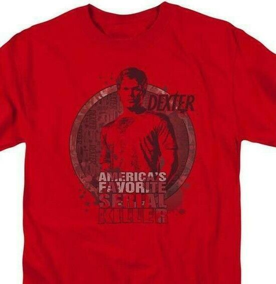 Dexter T-shirt America's Favorite TV horror show cotton graphic tee SHO358 Red