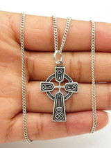 925 Sterling Silver - Vintage Oxidized Religious Cross Chain Necklace - ... - $31.32