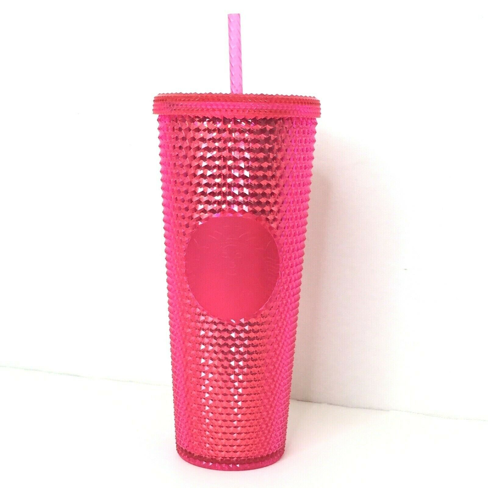 Starbucks 2019 Holiday Pink Red Studded Tumbler Christmas 24 oz Lid & Straw NEW