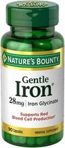 Pack of 2 Nature's Bounty Gentle Iron 28 mg 90 Capsules=180 Total Capsul... - $15.99